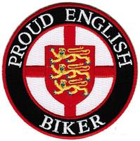 ingrosso biker del sacchetto-Vendita calda! PROUD ENGLISH BIKER PATCH RICAMATO FERRO SWE ON T-shit O GIACCA BORSA CAPPELLO ECT ALTA QUANLITÀ