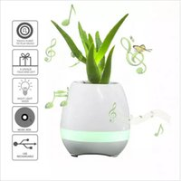Wholesale White Led Flower Pots - Smart Bluetooth Speaker Music Flower Pots 2017 Home Office Mini Colorful LED light Touch Piano Induction Flowerpot