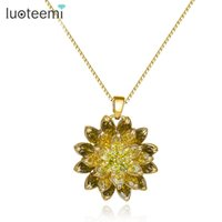 Wholesale Russian Gold Chains - LUOTEEMI Wholesale Russian Design Jewelry 18K Champagne Gold Plated Noble Olive Green CZ Flower Pendant Necklace