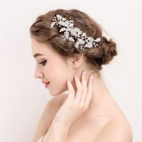 Wholesale Hair Comb Ornament - beijia New Silver Leaf Hair Ornaments Bridal Clip Rhinestone Wedding Accessories Hair Comb Women Jewelry Handmade Headwear