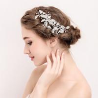 neue silberne brauthaarzusätze großhandel-Beijia New Silver Leaf Haarschmuck Brautclip Strass Hochzeit Zubehör Haarkamm Frauen Schmuck Handmade Headwear