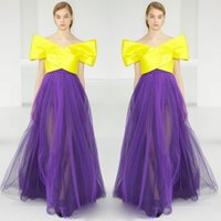 Wholesale Satin Bright Orange Short Dresses - Runway Fashion Evening Gowns Bright Yellow And Purple Tulle skirt Prom Dresses Off Shoulder Satin Arabic Women Formal Wear Custom Made