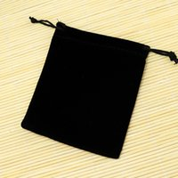 Wholesale Wholesale Small Velvet Bags - Wholesale-50pcs lot Small Black Velvet Bags 9x12cm Fit For Jewelry Packing Bags Christmas Candy Gift Bags Free Shipping