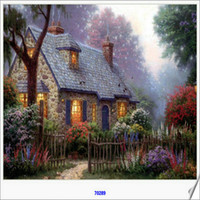 Wholesale House Free Cross Stitch - 2016 Arrival diy Diamond Painting cross stitch Forest house picturefull round drill sets unfinish diamond free shipping