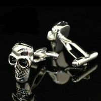 Wholesale Skull French Cuffs - Jewellery silver skeleton human skull cufflinks male French shirt cuff links for men's Jewelry Gift