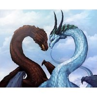 Wholesale Dragon Wall Painting - Dragon Love DIY 100% Full Drill Diamond Painting 5D Diamond Mosaic Cross Stitch Embroidery Needlework Home Wall Decor (Free Shipping)