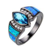 anéis azuis do aqua venda por atacado-Encantador Oceano Azul Opala Anéis Aqua / Branco CZ 10KT Preto Gold Filled Mulheres Anel de Noivado Moda Estilo