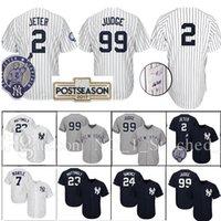 Wholesale Yankees Jersey Black - New York Yankees Jersey 99 Aaron Judge 2 Derek Jeter 24 Gary Sanchez 23 Don Mattingly 2017 Postseason Patch Baseball Jerseys
