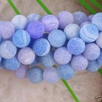 Wholesale Dragon Vein Agate Blue - Wholesale Natural blue 6-10MM Frosted Dream Fire Dragon Veins Agate Stone Round Loose Beads Strand 15""