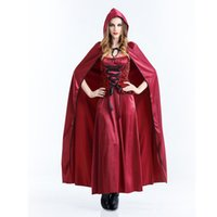 Wholesale Sexy Halloween Witch Hat - 4pcs Halloween costume with hat vampire red dress sexy queen dress Witch Cosplay show christmas costume