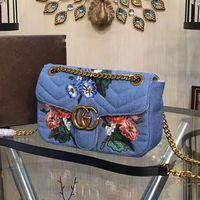 Wholesale Denim Covers - Marmont Embroidered bag luxury brand denim shoulder bags designer handbags high quality gold chain crossbody bag famous brand purse