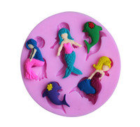 3D Mermaid Dolphin Silicone Fondant Mold Cake Chocolat Sugarcraft Cutter Moule DIY Cuisine artisanale Outils de cuisson Liquid Silicone Mould 459