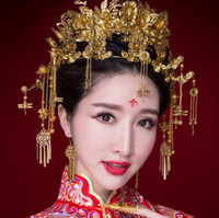 Wholesale Bridal Clothes - Beautiful Red ancient clothing bridal headdress retro Chinese style handmade high - end hair ornaments 3245235