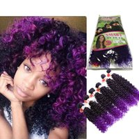 Wholesale Synthetic Peruvian Weave - Ombre brown marley braid hair kinky curly Peruvian curly 6 Bundles Hair Weave africa purple synthetic hair extension