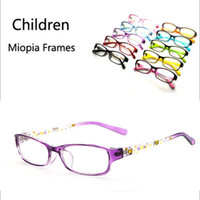 Barato Quadros Espelho Grossistas-Wholesale- 2017 New Children Transparent Myopia Glasses Frames Boys Girls Unisex Lovely Cartoon Color Óptico Plain Mirror Eyeglasses frame