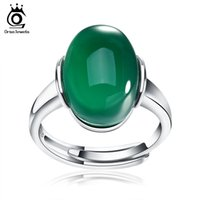 Wholesale Natural Stone Rings Sterling Silver - ORSA JEWELS Genuine 925 Silver Rings with Big Green Red Natural Stone 2017 New Sterling Silver Couple Rings for Women Men SR24