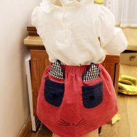 Wholesale Summer Blouses Sold Wholesale - Hot Sell Baby Girls Cartoon Fox Skirt Kids Skirts Children Clothing Mini Dress For Girl Princess Casual Fashion Ears Skirts Red A6766