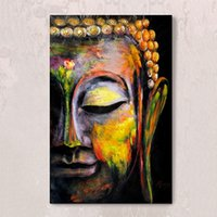 Wholesale Painted Statue - Buddha Statues Hand Painting Canvas Archaie Color Oil Paintings Wall Arts Pictures for Hallway Living Room Decor