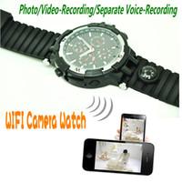 Wholesale Spy Watch Compass - WIFI Smart Watch 720P wireless Camera Watch with Compass LED floodlight IR Night Vision 16GB Spy Hidden Camera DV Video Audio Recorder ann