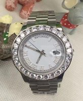 Wholesale Number Black Diamond - 2017 hot sale Luxury brand watch men white dial roman number marker big diamond bezel watch automatic watch men's dress wristwatches