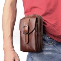 Wholesale Leather Waist Pouches Mens - 6.3 inch Universal Leather Zipper Phone Bag Mens Waist Belt Bag Travel Fanny Pack Belt Loops Hip Bum Pocket Bag for iphone 8 7plus note 8