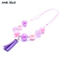 Wholesale Girls Chunky Necklace - MHS.SUN Newest Fashion Adjusted Tassel Necklace Birthday Party Gift For Toddlers Girls Beaded Bubblegum Baby Kid Chunky Necklace Jewelry