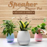 Wholesale White Plastic Flower Vases - 2017 Creative Smart Bluetooth Speaker Music Flowers Pots Home Office Decoration Green Plant Music Vase Music Green Plant Touch Induction