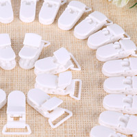 Wholesale Mam Clip - Wholesale-50 Pcs KAM Plastic Pacifier Clip Holder Soother Mam Baby Dummy Clips Chain For 20mm Ribbon 10 Colors S017 white HD113
