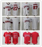 f24c099d172 Baseball Men Short 2017 New Stars Stripes jersey Men's Los Angeles Angels  27 Mike Trout Jersey