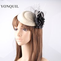 Black black veiling material - Charming colors available fabric flower with feaather veil material fascinator headwear event headpiece FNR151119