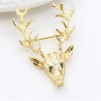 Pin Broche de Natal para casamento Animal Broches Hot Sale Unisex Xmas Popular Bonito Gold Deer Antlers Cabeça Pin Moda Styling Jóias DHL