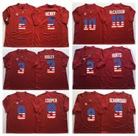 Wholesale Alabama Flags - Alabama Crimson Tide Red 3 RIDLEY 2 HENRY 9 COOPER 10 McCARRON 2 HURTS 9 SCARBROUGH Men Flag Jersey