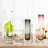 Wholesale Wholesale Floral Glass Vases - Beautiful bottle bubble straight transparent glass vase vase Floral Wedding Crystal Vase hydroponic Road