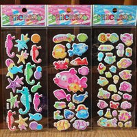 Wholesale Product Marine - marine animal and tropical fish stickers for kids children stickers toy sea life funny puffy stickers kids rewards school