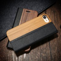 Wholesale wholesale wooden wallet online - Real Genuine Natural Wood Litchi PU Leather Flip Cover Folio Kickstand Wallet Handmade Wooden Bamboo Cases for Apple Iphone plus S plus
