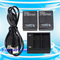 Wholesale Gopro Hero Battery Charger - New Genuine OEM Gopro 2*AHDBT-302 battery+Charger For Hero 3 HD Black Silver