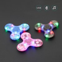 Wholesale Crystal Music Boxes - Led Bluetooth Music Fidget Crystal Finger Spinner HandSpinner EDC Hand Tri Spinner HandSpinner EDC Toy Decompression Toys in retail box