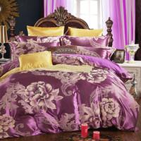 Wholesale Blue Floral Duvet Cover - Duvets Covers Bedding Sets Floral Cotton Jacquard Comforter Duvet Covers Sets European-Style Bed Four-Piece Cotton Bedding Sets Quilt Luxury