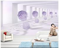 papel de parede livre para paredes venda por atacado-Murais de parede 3D papel de parede imagem personalizada mural wall 3d espaço roxo flor sala de estar papel de parede papel de parede mural 3D frete grátis