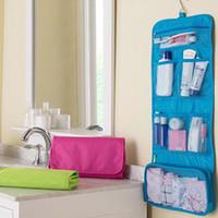 Wholesale Hanging Wash - New Arrival Folding Cosmetic Bag Fashion Women Makeup Bag Hanging Toiletries organizer Wash Storage Bag Hot Sale