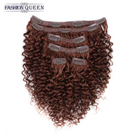 Mongolian Afro Kinky Curly Clip In Menschliche Haarverlängerungen # <b>33 Dark Auburn</b> 6Pieces 115g Pack African American Clip In Human Hair Extensions