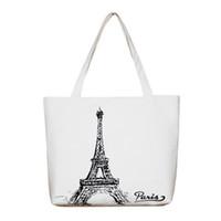 Wholesale Eiffel Shopping Bag - Wholesale- Women Canvas Handbag Large Space Zipper Shopping Travel Shoulder Bag Paris Eiffel Tower Pattern Girls Beach Bookbags Casual Tote