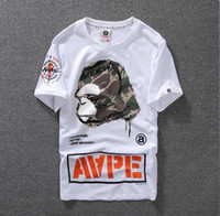 Wholesale Ape T - Lovers Summer Mens Cartoon Apes T-Shirts Fashion Crew Neck Short-sleeve classic camo Printed Supply Co Male Tops Tees kanye west cartton cas
