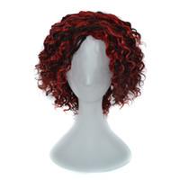 peluca rizada vino al por mayor-100% peluca de cabello humano sin tapa pelucas mujeres rizado negro Ombre peluca de pelo vino tinto 240g 14 pulgadas