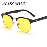 Wholesale Vision Designer - ALOZ MICC Half Metal Night Vision Sunglasses Men Women Brand Designer Radiation Protectio Computer Glasses Night Vision Drivers Glasses A317