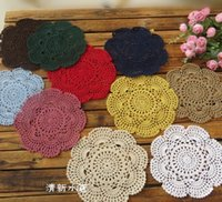 Wholesale Cotton Lace Coaster - 20cm Handmade Crochet Coasters Lace Cotton Round Table Mat Zakka Doilies Weave Cup Pads Bowl Mats for Dinning Table 1 6jy
