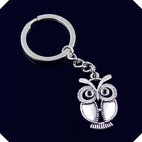 nuovo-fashion-men-30mm-keychain-DIY-metal-holder-catena-vintage-grande-occhi-gufo-34-21mm-chiave d'argento