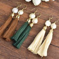 Wholesale Mother Pearl Handmade Jewelry - New In Winter Handmade Literary Cotton Long Tassels Piercing Earrings Original Creative Design Pearl Dangle Earrings Jewelry Women Girl Gift