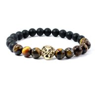 Wholesale Tiger Bracelet Ring - Fashion Jewelry Natural Tiger Eye's Stone Black Agate Lion Head Yoga Unisex Beads Bracelet Mix order size 16-19cm