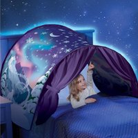 Wholesale Dreams Night Light - New children dream tents Folding Type Moon white clouds Cosmic space baby mosquito net 80*230cm without Night light C2952
